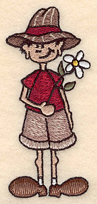 "Embroidery Design: Boy with flower small 1.72""w X 3.89""h"