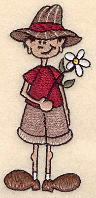 "Embroidery Design: Boy with flower large 2.20""w X 4.99""h"