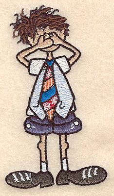"Embroidery Design: Boy speak no evil small 2.17""w X 3.89""h"