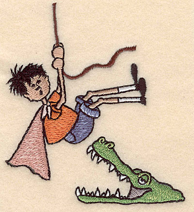 "Embroidery Design: Boy with crocodile small 3.55""w X 3.89""h"