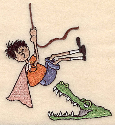 "Embroidery Design: Boy with crocodile large 4.54""w X 4.99""h"