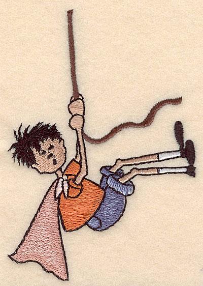 "Embroidery Design: Boy swinging on vine 3.51""w X 4.99""h"