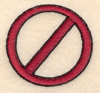 "Embroidery Design: No sign small 2.00""w X 1.90""h"