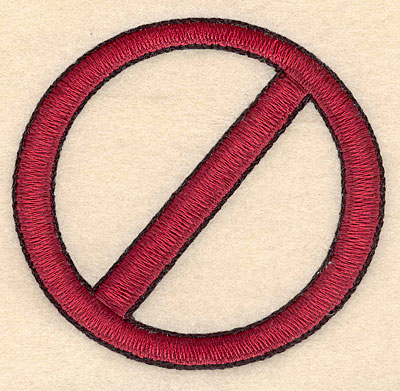 """Embroidery Design: No sign large 3.52""""w X 3.32""""h"""