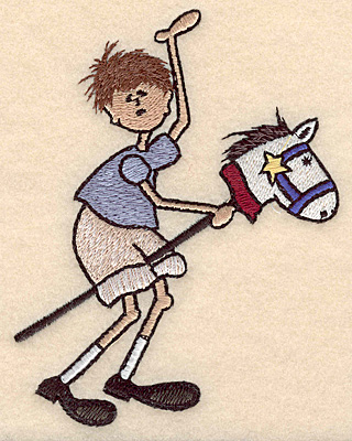 """Embroidery Design: Boy on toy horse large 3.61""""w X 4.99""""h"""