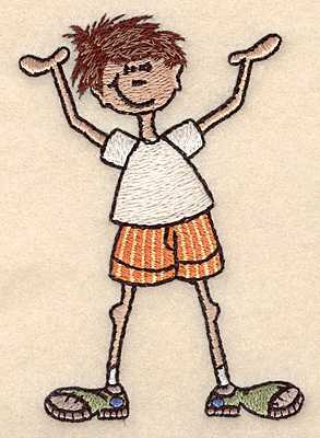 "Embroidery Design: Boy with hands in air small 2.86""w X 3.89""h"