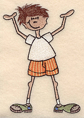 "Embroidery Design: Boy with hands in air large 3.66""w X 4.99""h"