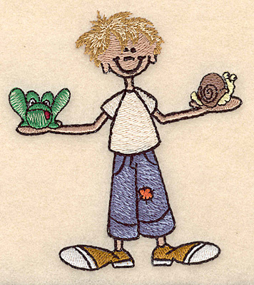 "Embroidery Design: Boy with frog and snail small 3.46""w X 3.89""h"