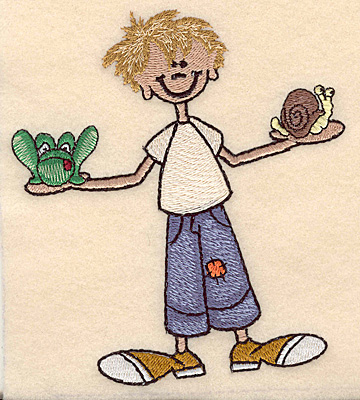 "Embroidery Design: Boy with frog and snail large 4.43""w X 4.99""h"