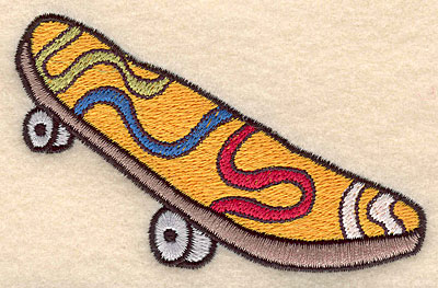"""Embroidery Design: Skateboard large 4.01""""w X 2.43""""h"""