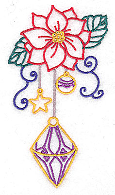 Embroidery Design: Poinsettia with ornaments large 2.75w X 4.98h