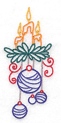 Embroidery Design: Christmas candles small 1.77w X 3.89h