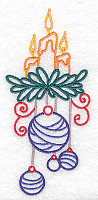 Embroidery Design: Christmas candles large 2.27w X 4.98h