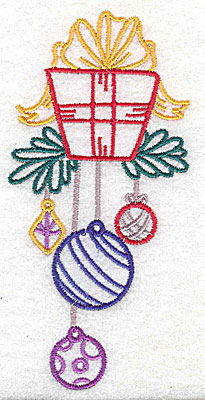 Embroidery Design: Christmas gift box large 2.37w X 4.96h