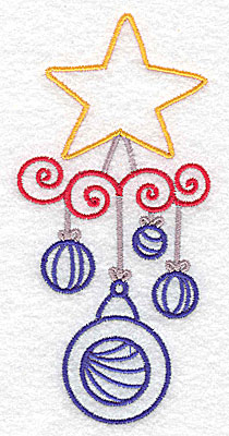 Embroidery Design: Christmas star with ornaments large 2.34w X 4.97h