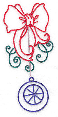 Embroidery Design: Christmas bow with ornament large 2.27w X 4.97h