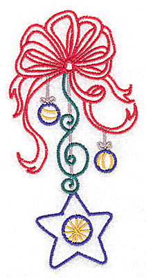 Embroidery Design: Christmas bows with star large 2.50w X 4.97h