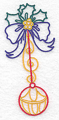 Embroidery Design: Holly bow and bauble large 2.25w X 4.97h