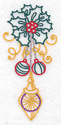 Embroidery Design: Holly and ornaments large 2.31w X 4.95h