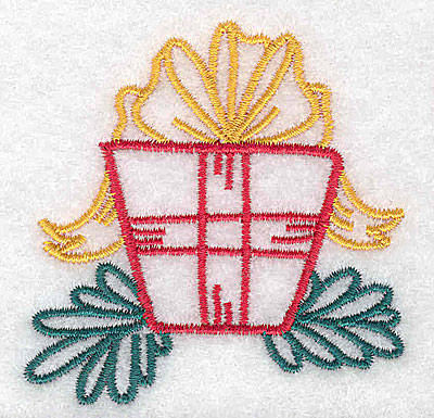 Embroidery Design: Christmas present 2.47w X 2.52h