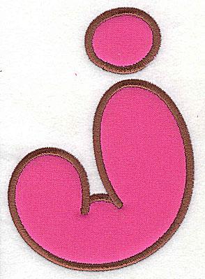 Embroidery Design: J applique large 5.00w X 7.06h