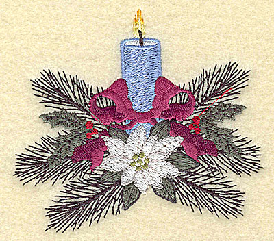 Embroidery Design: Christmas candle small 3.78w X 3.34h