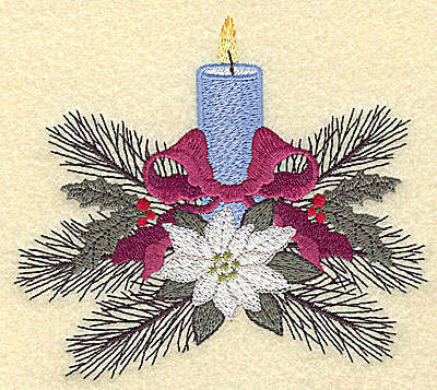 Embroidery Design: Christmas candle large 4.92w X 4.34h