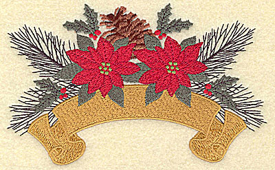 Embroidery Design: Pine cone poinsettia and banner large 6.38w X 3.97h