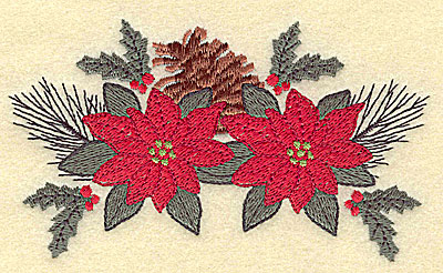 Embroidery Design: Pine cone and poinsettia large4.94w X 2.85h