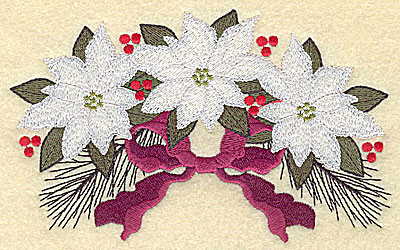 Embroidery Design: White poinsettia trio large 6.15w X 3.85h