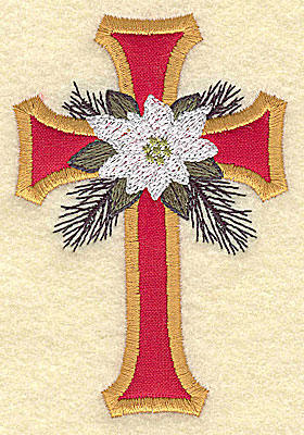 Embroidery Design: Applique cross with poinsettia small 2.63w X 3.86h