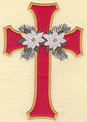 Embroidery Design: Applique cross with poinsettia large 6.96w X 4.73h