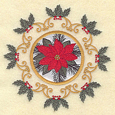 Embroidery Design: Poinsettia in circle 4.93w X 4.93h