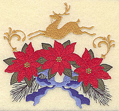 Embroidery Design: Poinsettias with deer 4.90w X 4.67h