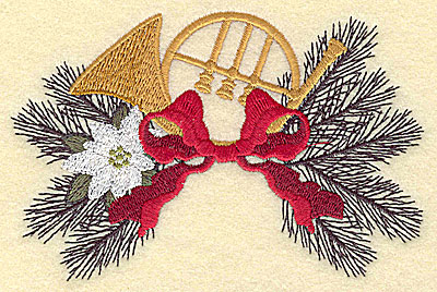 Embroidery Design: Christmas bugle and poinsettia 4.94w X 3.23h