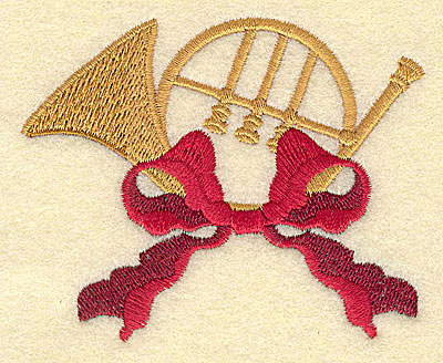Embroidery Design: Christmas bugle with bow 3.51w X 2.83h