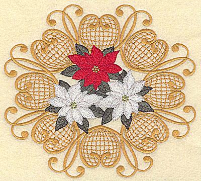 Embroidery Design: Pointsettias in circular design 6.76w X 6.15h