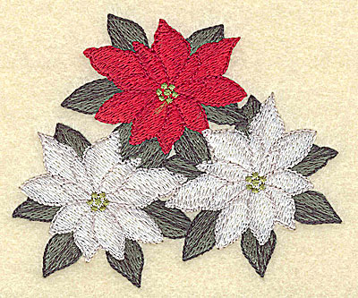 Embroidery Design: White and red poinsettia 3.83w X 3.21h