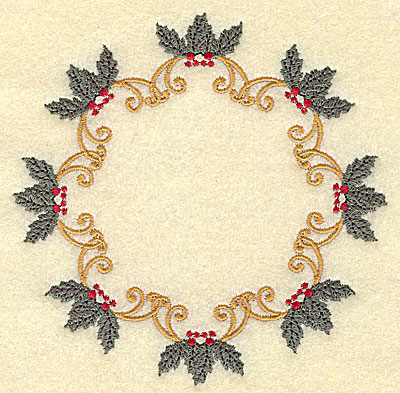 Embroidery Design: Circular holly with berries design 4.93w X 4.93h