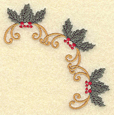 Embroidery Design: Holly and berries arc 3.12w X 3.12h