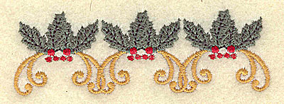 Embroidery Design: Holly and berries trio 3.66w X 1.19h