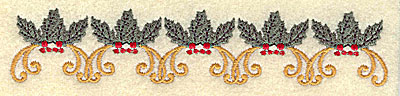 Embroidery Design: Holly and berries border 6.01w X 1.19h
