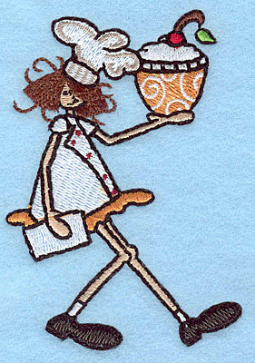 """Embroidery Design: Chef with desert small  3.89""""h x 2.70""""w"""