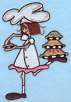 """Embroidery Design: Chef with pies large  4.99""""h x 3.34""""w"""