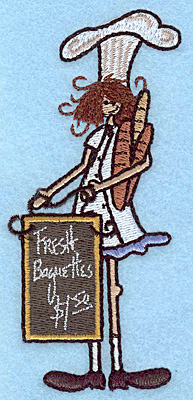 """Embroidery Design: Chef with menu board large  4.99""""h x 2.33""""w"""