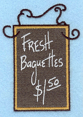 """Embroidery Design: Fresh Baguettes  3.50""""h x 2.54""""w"""