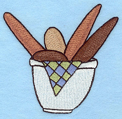 """Embroidery Design: Bread bowl large  3.90""""h x 4.00""""w"""