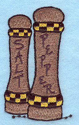 """Embroidery Design: Salt and pepper shakers  3.02""""h x 1.80""""w"""