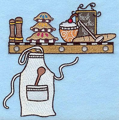 "Embroidery Design: Kitchen shelf  5.00""h x 4.94""w"