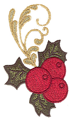 Embroidery Design: Holly with berries 2.22w X 3.82h